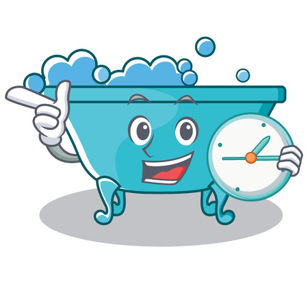 With clock bathtub character cartoon style Illustration