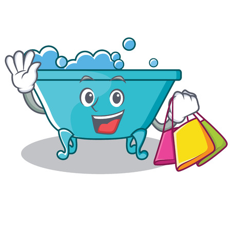 Shopping bathtub character cartoon style