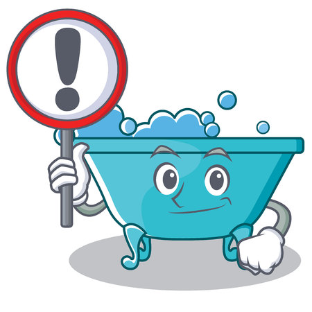 With sign bathtub character cartoon style Illustration