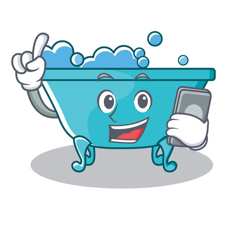 With phone bathtub character cartoon style Illustration