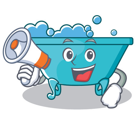 With megaphone bathtub character cartoon style