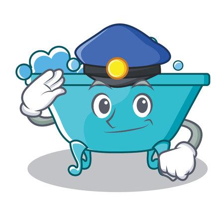 Police bathtub character cartoon style