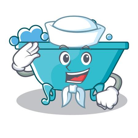 Sailor bathtub character cartoon style Illustration