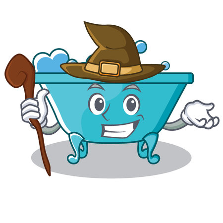 Witch bathtub character cartoon style