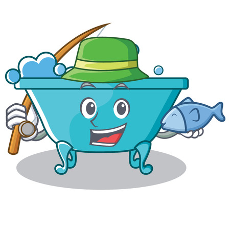 Fishing bathtub character cartoon style Illustration
