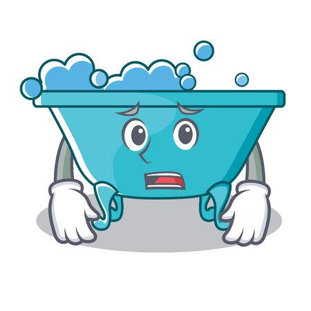 Afraid bathtub character cartoon style
