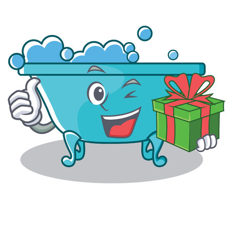 With gift bathtub character cartoon style