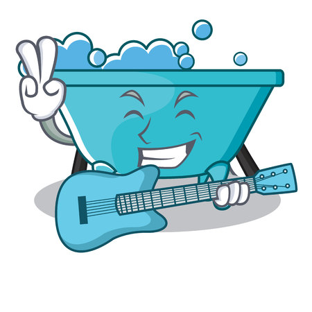 With guitar bathtub character cartoon style