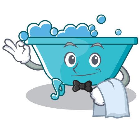 Waiter bathtub character cartoon style
