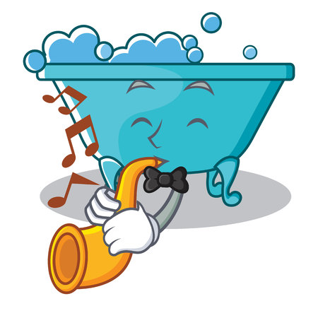 With trumpet bathtub character cartoon style