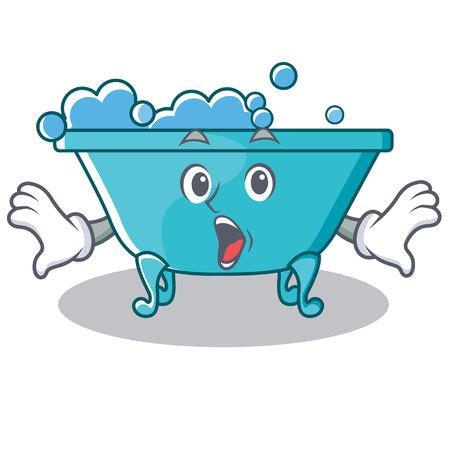 Surprised bathtub character cartoon style