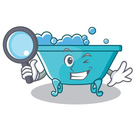 Detective bathtub character cartoon style Illustration