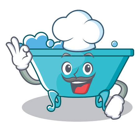 Chef bathtub character cartoon style