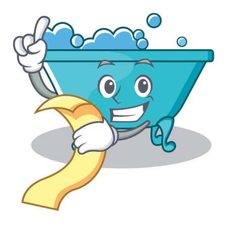 With menu bathtub character cartoon style