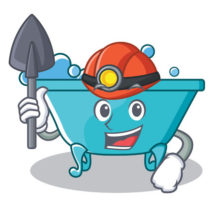 Miner bathtub character cartoon style