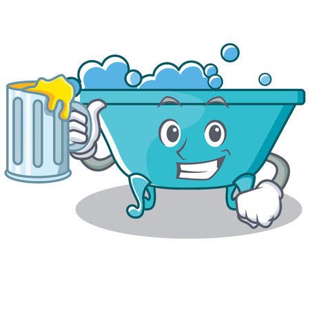 With beer bathtub character cartoon style Illustration