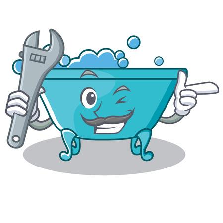 Mechanic bathtub character cartoon style Illustration