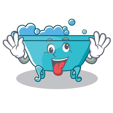 Crazy bathtub character cartoon style Illustration