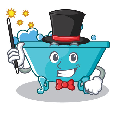 Magician bathtub character cartoon style