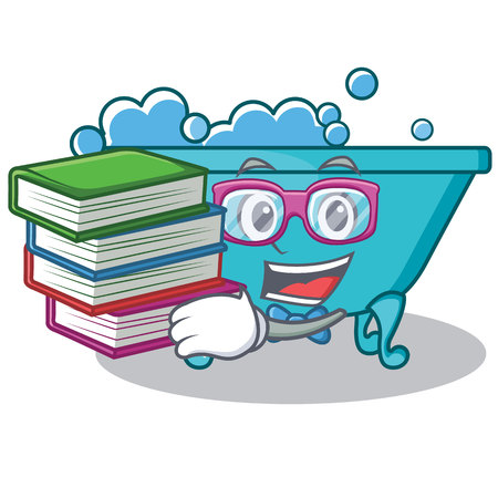 Student with book bathtub character cartoon style Illustration