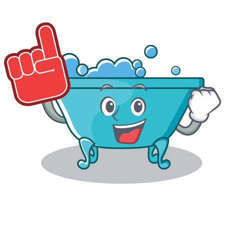 Foam finger bathtub character cartoon style Illustration