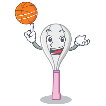 With basketball whisk character cartoon style Illustration