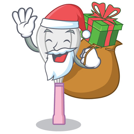 Santa with gift whisk character cartoon style. Illustration