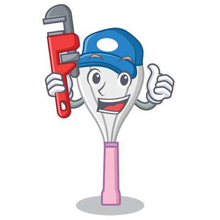 Plumber whisk character cartoon style.