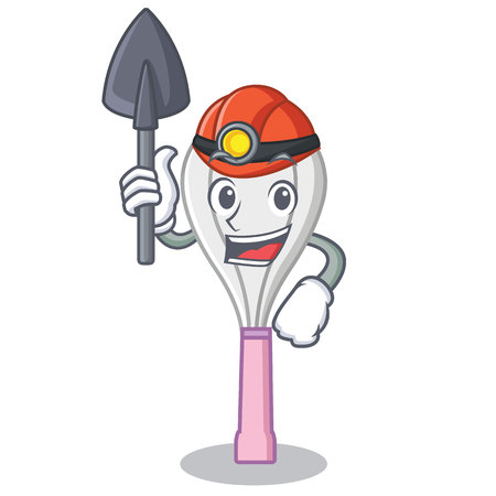 Miner whisk character cartoon style.