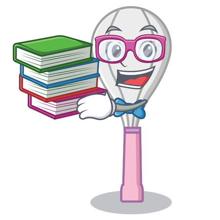 Student with book whisk character cartoon style. Illustration
