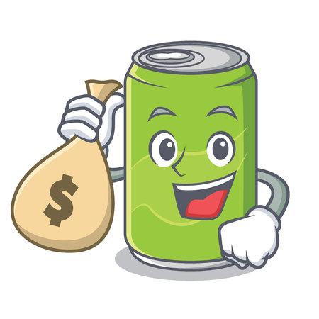 With money bag soft drink character cartoon 免版税图像 - 90578384