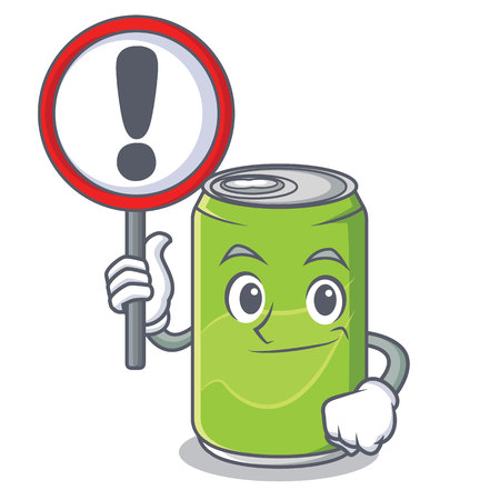 With sign soft drink character cartoon