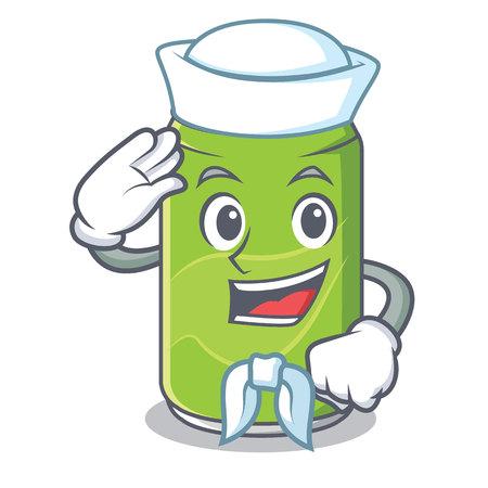Sailor soft drink character cartoon vector illustration