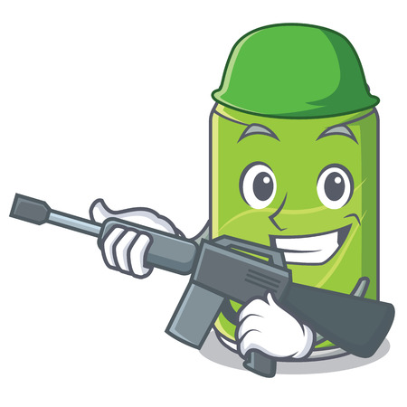 Army soft drink character cartoon vector illustration