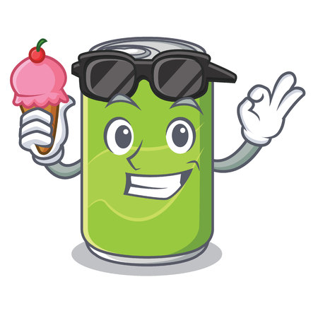 With ice cream soft drink character cartoon vector illustration