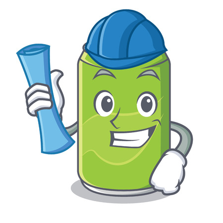 Architect soft drink character cartoon vector illustration