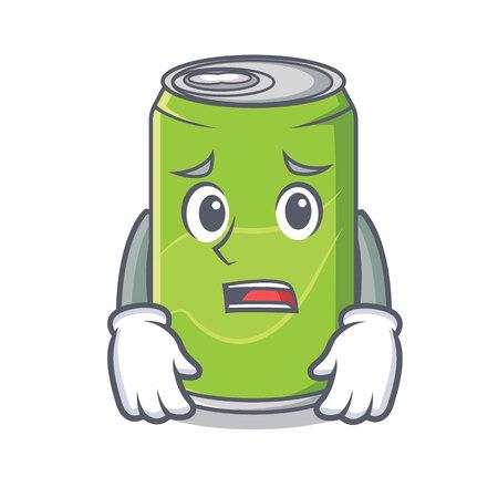 Afraid soft drink character cartoon vector illustration
