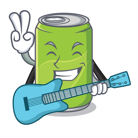 With guitar soft drink character cartoon vector illustration Illustration