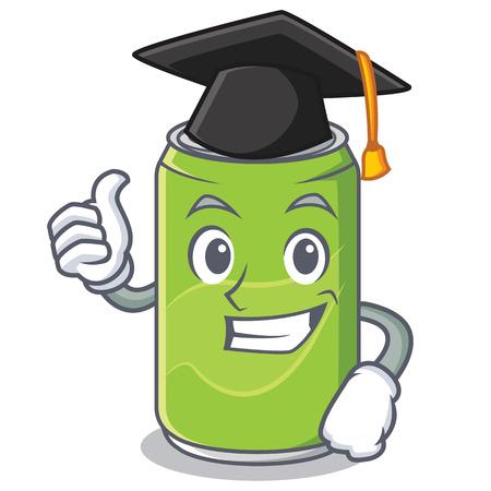 Graduation soft drink character cartoon vector illustration