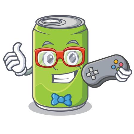 Gamer soft drink character cartoon vector illustration Vectores