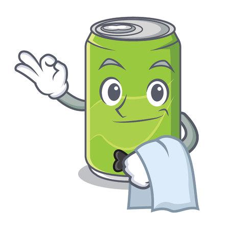Waiter soft drink character cartoon vector illustration