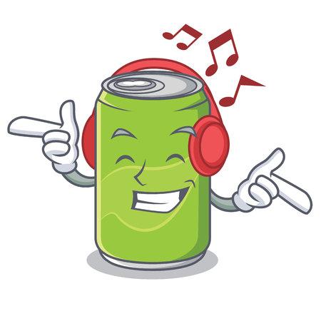 Listening music soft drink character cartoon
