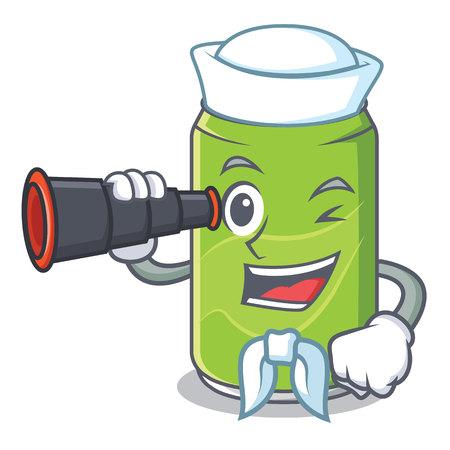 Sailor with binocular soft drink character cartoon