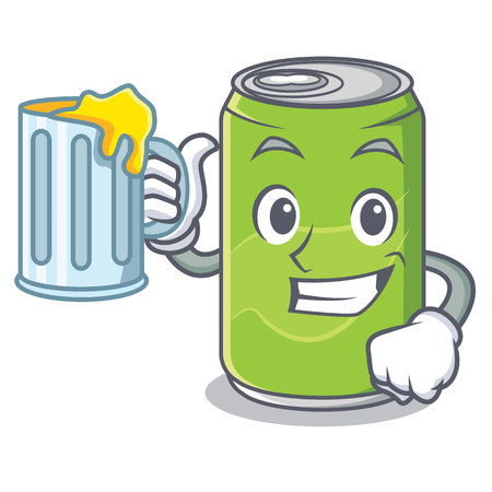 With juice soft drink character cartoon Illustration