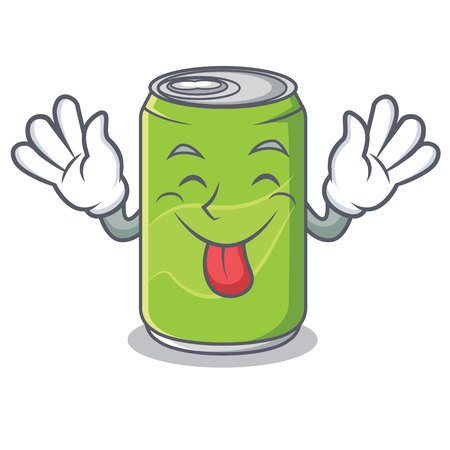 Tongue out soft drink character cartoon