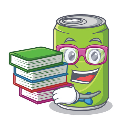 Student with book soft drink character cartoon