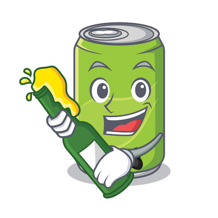 With beer soft drink character cartoon