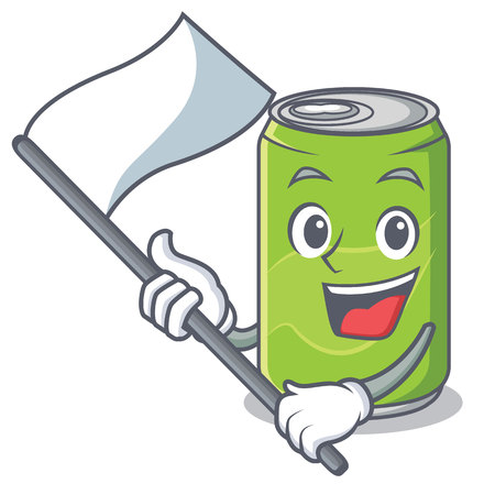 With flag soft drink character cartoon