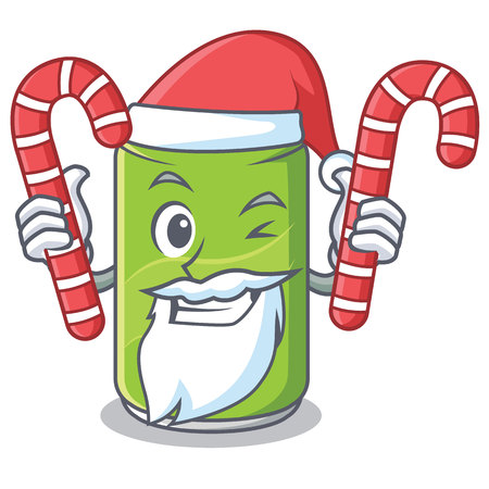 Santa with candy soft drink character cartoon vector illustration Illustration
