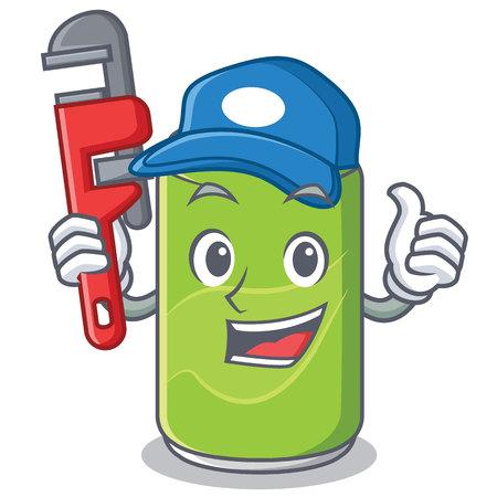 Plumber soft drink character cartoon vector illustration